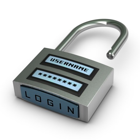 digital padlock with username and password plus login button opened over white background with shadow