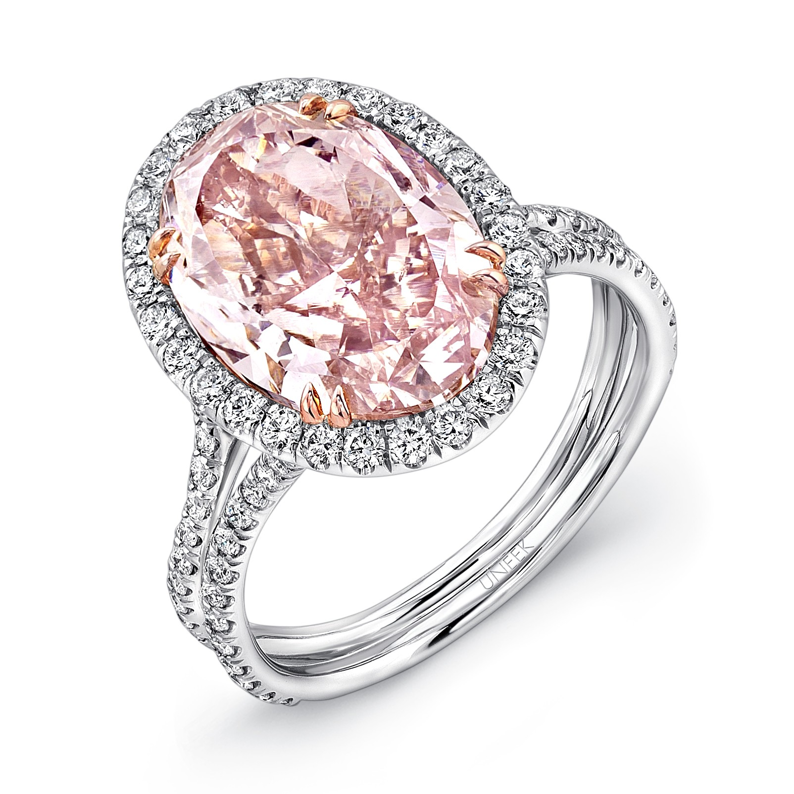 pink diamond engagement rings pink wedding rings LVS Uneek Oval Fancy Brown Pink Diamond Halo Engagement Ring with Silhouette Double Shank in Platinum and 18K Rose Gold