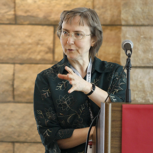 UNMC researcher Joyce Solheim, Ph.D., breaks down her nantechnology approach for using immunotherapy for treating cancer during UNeMed's 2016 Industry Partnering Summit held at UNMC's Michael F. Sorrell Center on May 10.