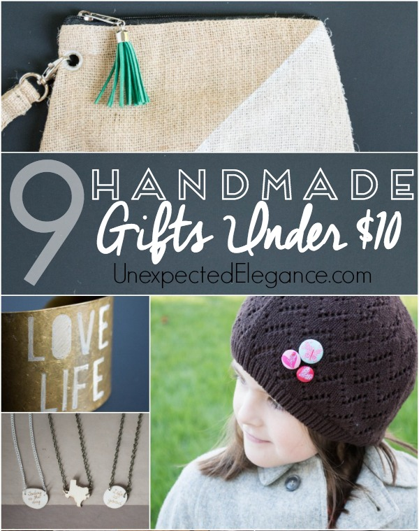 Get some great ideas for handmade gifts under $10!! Most take less than 10 minutes to make and there's one for every person on you list.