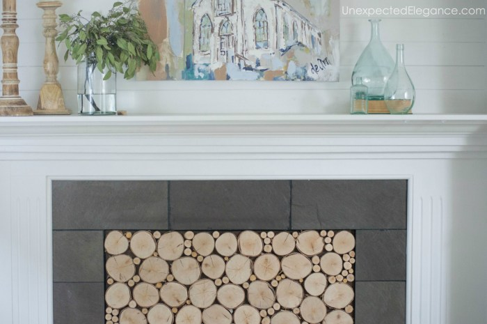 This stacked logs in fireplace tutorial, is great for adding texture to your space AND helping to stop drafts!