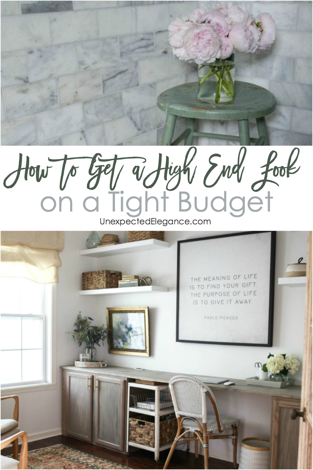 Want your house to look high end, without the high price tag? Click here to see what elements you need to create the look on a budget!