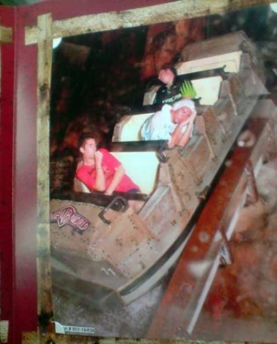 Sleeping guys on roller coaster