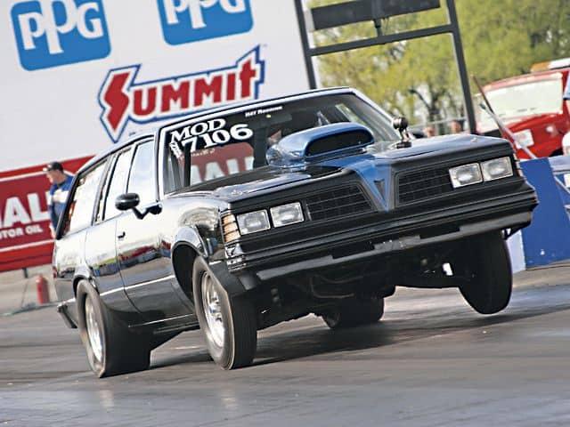 1981 Pontiac LeMans Safari with 502 Big Block on the Drag Strip