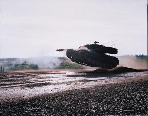 German Leopard 2 Tank catches Air over some muddy water