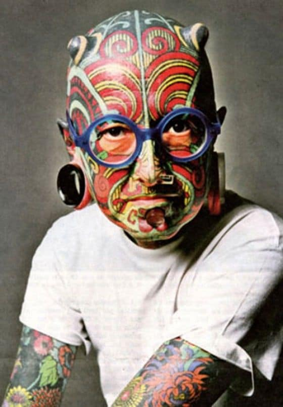 Man covered in tattoos from head to toe