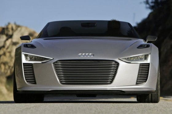 Headlights of 2014 Audi e-tron Spyder car