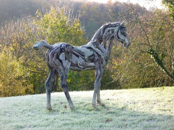 driftwood sculpture of a horse
