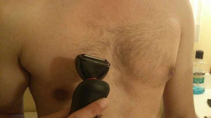 Body Groomer on Hairy Chest
