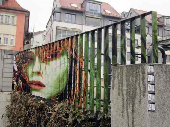 zebrating street art woman face
