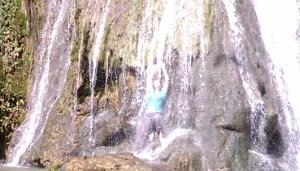 Helen making rainbows in the waterfall at Tanay, Manila, January 2012