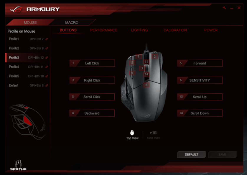 The ROG Armoury is where you can fiddle with the countless settings for your Spatha, it may look intimidating but it' class=