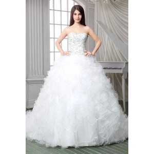 Manly Royal Ball Gown Strapless Satin Embroidery Organza Ruffle Corset Weddingdress Chapel Train Royal Ball Gown Strapless Satin Embroidery Organza Ruffle Corset