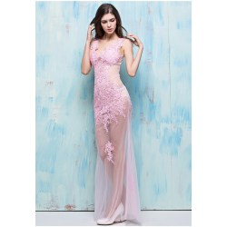 Robust Sexy V Neck Open Back Light Pink Tulle Lace Sheer See Through Occasion Prom Dress Sexy V Neck Open Back Light Pink Tulle Lace Sheer See Through Pink Cocktail Dresses Knee Length Pink Cocktail D wedding dress Pink Cocktail Dress