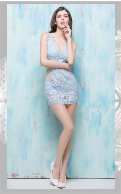 Phantasy Sexy V Neck Sheer See Through Mini Light Sky Blue Lace Night Out Club Partydress Sexy V Neck Sheer See Through Mini Light Sky Blue Lace Night Out Sky Blue Dress Shoes Sky Blue Dress Long