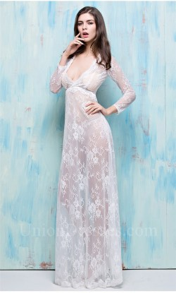 Cozy Sexy Deep V Neck Long Sleeve Sheer See Through Lace Occasion Evening Dress 2 See Through Dresses App See Through Dresses Sale Uk