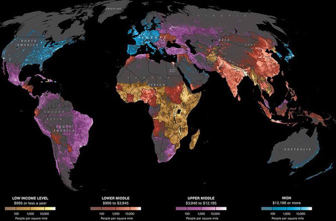 Mapa distribución del nivel de renta en el mundo