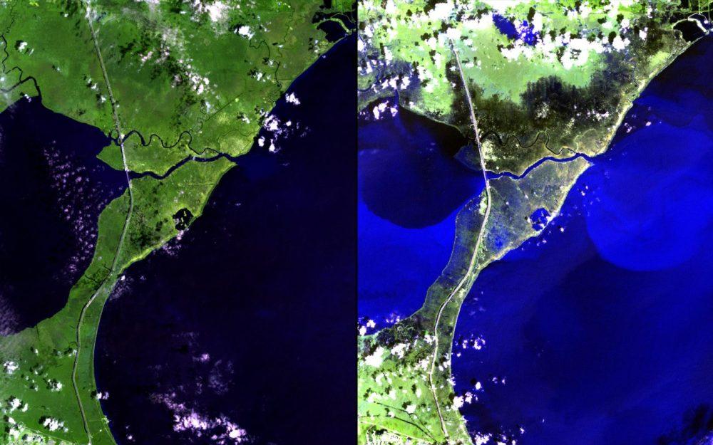 Huracán, Luisiana (Agosto 2012 – septiembre 2012): El huracán Isaac tocó tierra en Luisiana el 28 de agosto de 2012, y se movió muy lentamente hacia el norte. Los diques protegían el área de Nueva Orleans, pero los fuertes vientos, la lluvia y las mareas causaron inundaciones masivas en la región entre el lago Maurepas y el lago Pontchartrain, al noroeste de la ciudad.