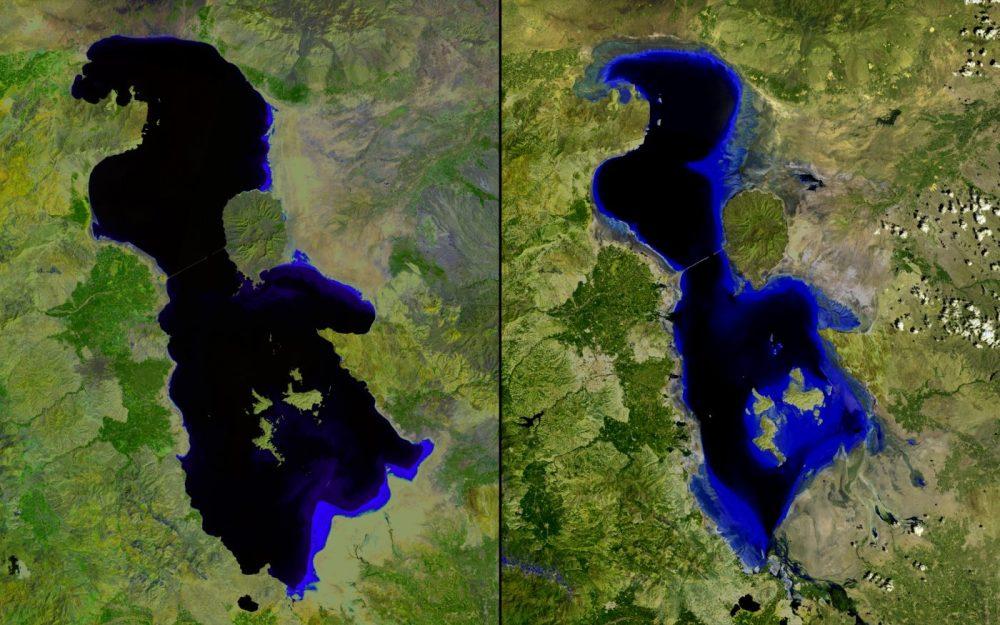 Cambio en el lago, Irán (2000 – 2013): Lago Urmia, un lago salado en el noroeste de Irán, no deja de reducirse como efecto de la construcción de represas, la disminución de las precipitaciones y el desvío de las aguas. Los colores azules más ligeros en estas imágenes indican aguas menos profundas. El lago ha sido el hogar de los asentamientos humanos desde la Edad de Piedra y su cuenca es actualmente una importante región agrícola.