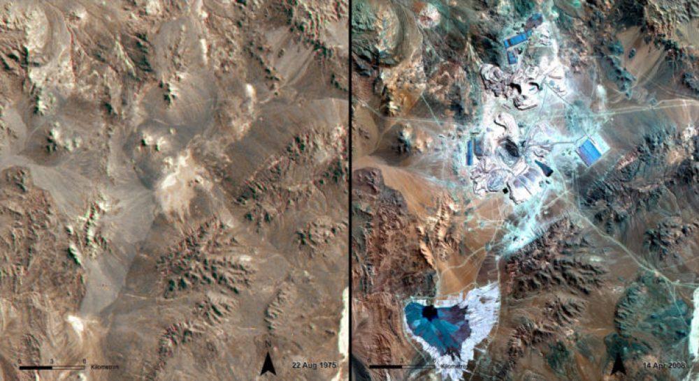 Crecimiento de la minería, Chile (Agosto 1975 – abril 2008): La Escondida, una mina a cielo abierto en el norte de Chile, es la mayor productora de cobre en el mundo. Su impacto en el desierto de Atacama es evidente. Las zonas azules y blancas en el centro de la imagen de 2008 son la infraestructura y pozos de la mina. La zona azul más oscuro en la parte inferior izquierda es un depósito de residuos.