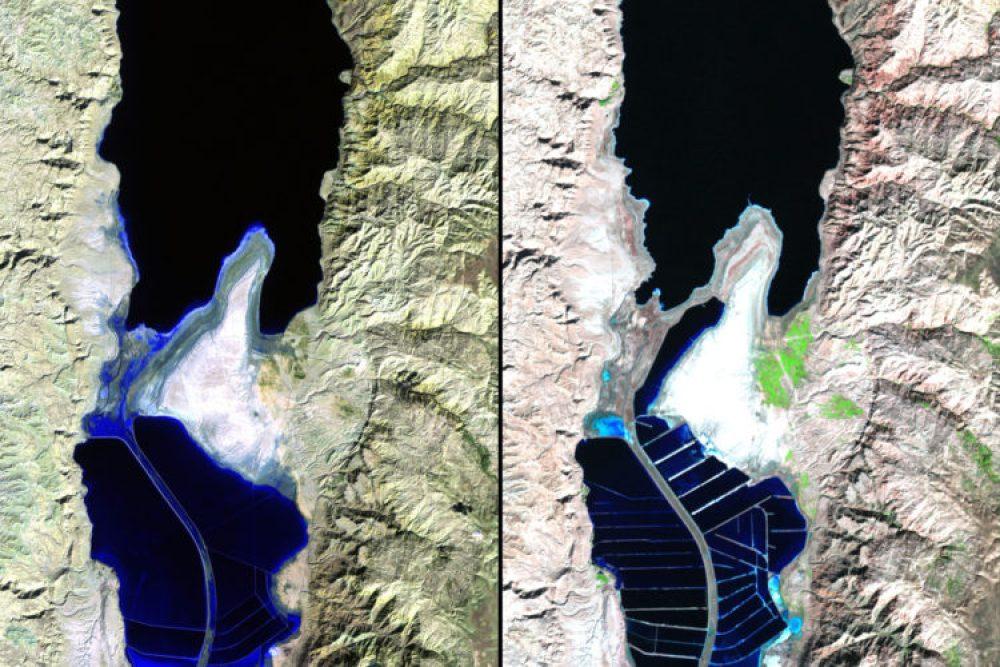 Desviación de acuíferos, Mar Muerto (Noviembre 1984 – noviembre 2011): El agua del Mar Muerto es demasiado salada para albergar cualquier tipo de vida que no sea bacterias. Sus minerales, sin embargo, se extraen para diversos fines industriales. Estanques de evaporación de minerales han sustituido al mar abierto en la parte meridional del mar, como se puede ver en la imagen de 2011.