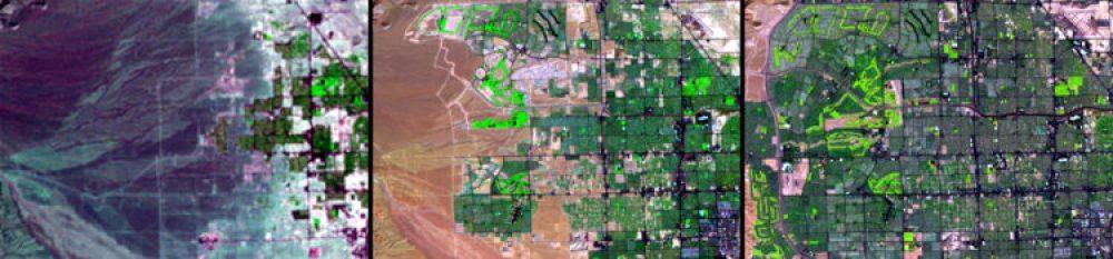 Crecimiento urbano, Nevada (1972 – 1992 – 2013): Estas imágenes muestran la rápida expansión de Las Vegas, Nevada, una de las ciudades de más rápido crecimiento en los Estados Unidos. Su población aumentó casi el 42% entre 2000 y 2010.