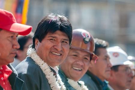Evo Morales en una marcha del sindicato Central Obrera Bolivariana [Foto: Eneas de Troya vía Flickr].