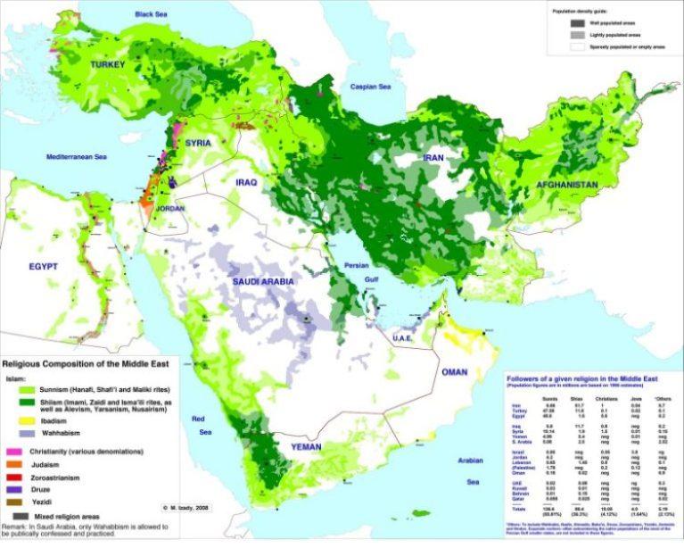 Mapa de distribución geográfica de la población seguidora de distintas ramas del Islam en Oriente Medio [Foto: The Gulf Blog].