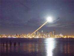 Moonrise Over Seattle. Image credit: Shay Stephens