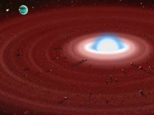 Artist impression of a disk of material around a white dwarf star. Image credit: Gemini Observatory