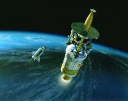 The Galileo mission above Earth - the subsequent flybys caused an unexpected boost in velocity (credit: NASA)
