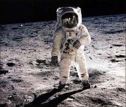 A NASA astronaut on the lunar surface (credit: NASA)