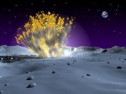 An artists impression of a lunar explosion - caused by the impact of a meteorite (Credit: NASA)
