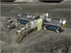 A mobile base comprised of several pressurized rovers. A mission such as this could be the advance party to begin work on the Moon (credit: NASA/JSC)