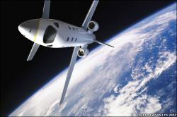 The Astrium craft in space - artist impression (credit: Astrium/Marc Newson)