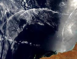 Gravity waves propagating through the atmosphere from the Australian coast (credit: University of Edinburgh)