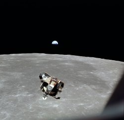 The lunar module above the Moon during the Apollo 11 mission (NASA)