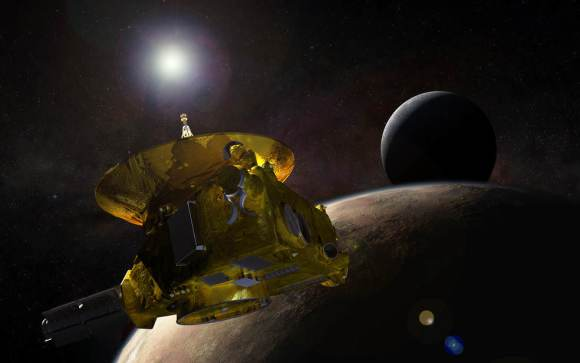 Artist's impression of the New Horizons spacecraft in orbit around Pluto (Charon is seen in the background). Credit: NASA/JPL