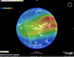 A screenshot of Google Earth, with ionosphere overlayed (Google)
