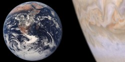 Comparison of Jupiter and Earth. Image credit: NASA/JPL