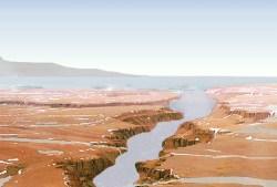 Artist illustration of an ancient ocean on Mars. Image credit: NASA