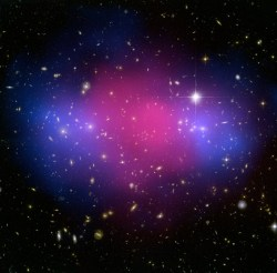 Hubble and Chandra composite image showing possible dark matter.  Credit: X-ray(NASA/CXC/Stanford/S.Allen); Optical/Lensing(NASA/STScI/UC Santa Barbara/M.Bradac)