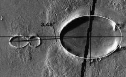 Oval impact craters north of Olympus Mons (NASA)