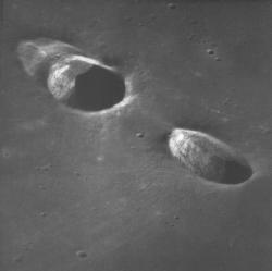 NASAs Lunar Orbiter spacecraft imaged the Messier A (right) and B craters on the Moon. Messier A is about 11 km long (NASA)