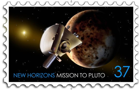 Proposed new stamp for New Horizons.  Credit:  JHU/APL