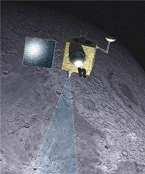 Chandrayaan-1 in lunar orbit.  Credit:  ISRO