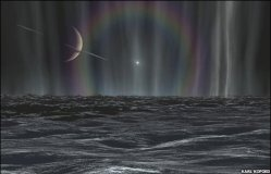 Artist impression of the surface of Enceladus and the source of the plumes (BBC/Karl Kofoed)