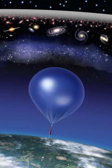 The balloon-borne ARCADE instrument discovered this cosmic static (white band, top) on its July 2006 flight. The noise is six times louder than expected. Astronomers have no idea why. Credit: NASA/ARCADE/Roen Kelly