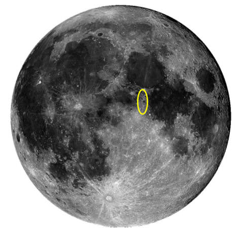Chandrayaan-1 was flying over the nearside of the Moon when the flare went off – in a region of lunar highlands close to the crater Boscovich.  Credit:  STFC