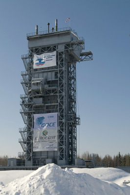 GOCE at the launchpad in Russia.  Credit: ESA